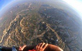 Flying with hot air balloon in Cappadocia